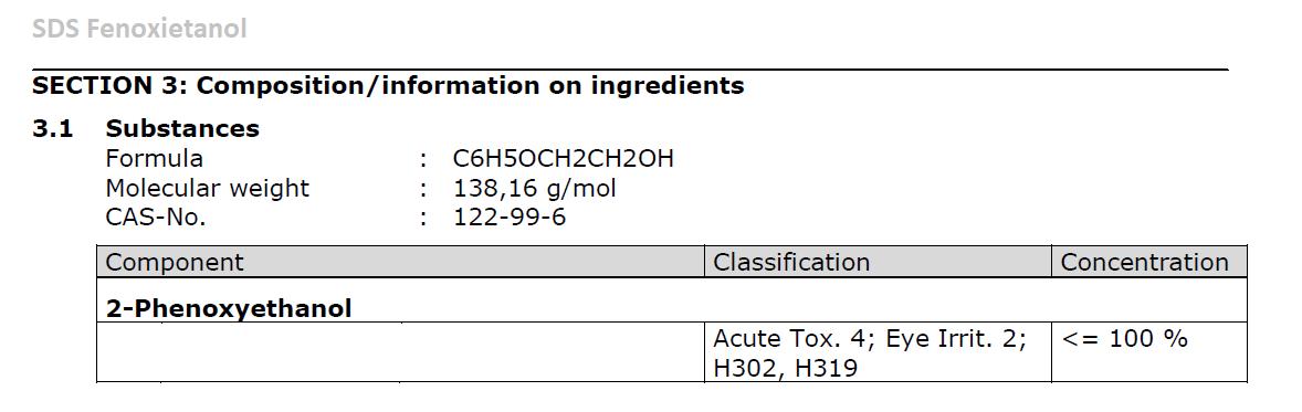 Ficha de datos de seguridad del fenoxietanol