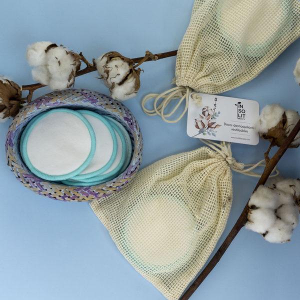 Discos desmaquillantes reutilizables de algodón y bambú
