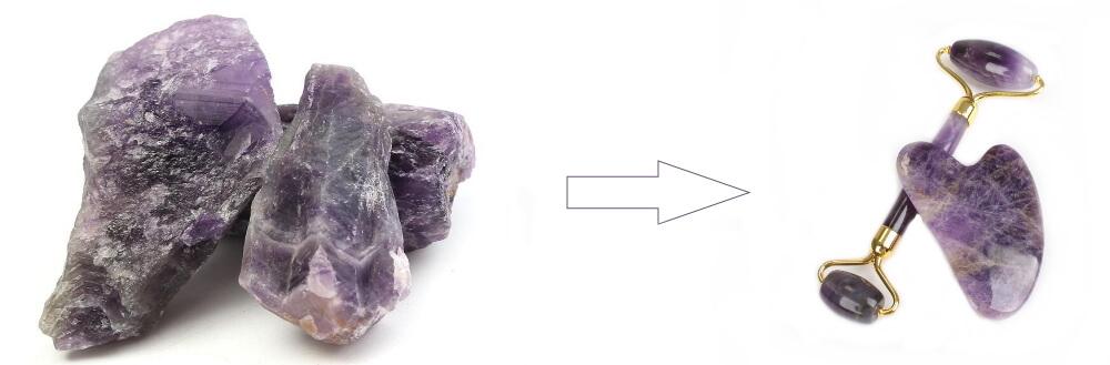 Gua Sha y roller de mineral amatista