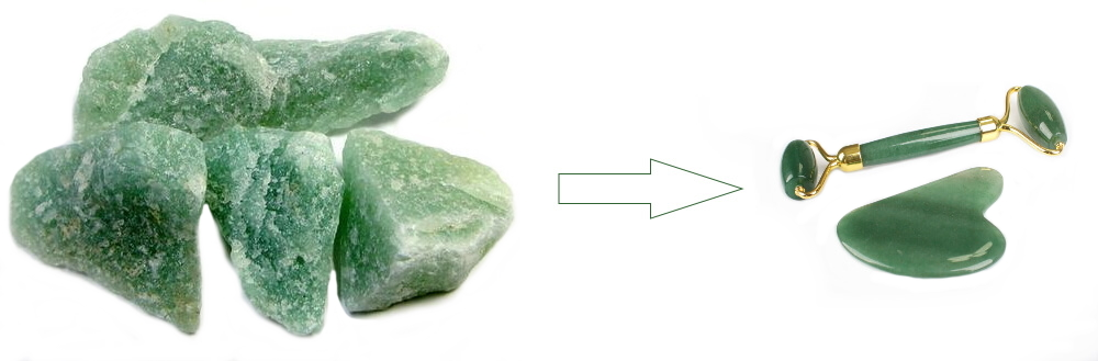 Gua Sha y Roller de mineral Aventurina