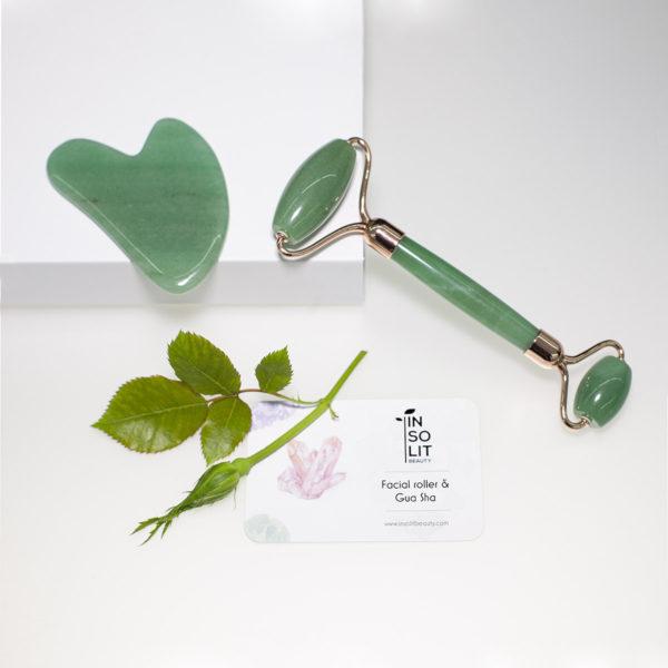 Gua sha de cuarzo verde aventurina