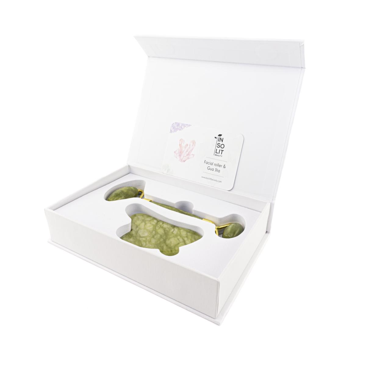 Set Roller facial y guasha de jade Xiuyan certificado