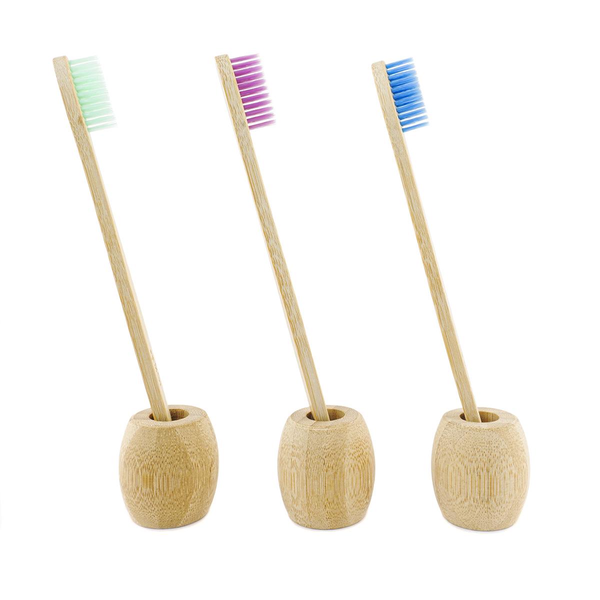 Soporte de bambu para cepillo de dientes biodegradable